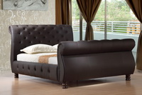Canterbury Genuine Brown Leather Sleigh Bed