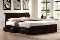 Madison Faux Leather Bed In Brown With Drawers