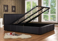 Ottoman Faux Leather Storage Bed In Black