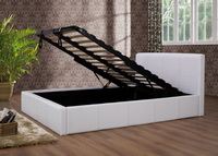 Ottoman Faux Leather Storage Bed In White