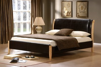 Tokyo Leather Bed Frame In Brown